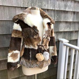 VTG 70's 80's Patchwork Brown Rabbit Fur Jacket